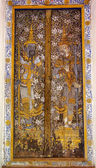 Thai panting of Wood door. In Thai Temple. — Stockfoto