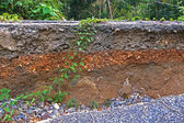 Stratigraphy of road damage caused by the earthquake. — Stock Photo