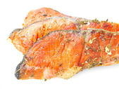 Salmon fried with spices. — Stock Photo