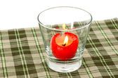 Red candles in glass tableware. — Stock Photo
