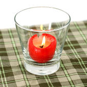 Red candles in glass tableware. — Zdjęcie stockowe