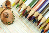 Pencils with color shaving — Stock Photo