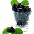 Black grapes in a glass isolated on a white background. — Stock Photo #38660305