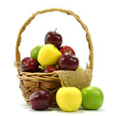 Apples in basket on a white background. — Stock Photo