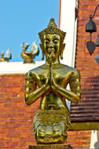 Golden Buddha, ancient Thai temples in Northern — Foto Stock