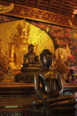 Golden Buddha, ancient Thai temples in Northern — Stock Photo