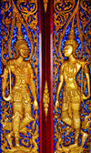 Thai panting of Wood door. In Thai Temple. — Stock Photo