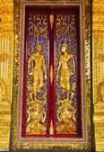 Thai panting of Wood door. In Thai Temple. — Stock Photo