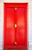 Red door of the Church in Thai Temple. — Stock Photo