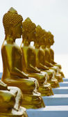 Gold Buddha on the beach in Ancient temple of Thailand — Stock Photo