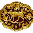 Stock Photo: Wooden carved animals, painted gold.
