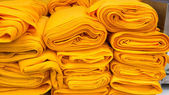 Orange fabric rolls — Stok fotoğraf