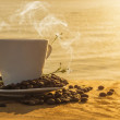 Silhouettes of morning coffee on the lake. — Stock Photo #43918239