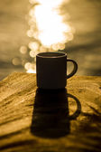 Silhouettes of morning coffee on the lake. — Stock Photo