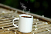Morning coffee on the wood. — Stock Photo