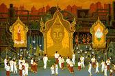 Modern murals In Buddhist temple, Thailand. — Stock Photo