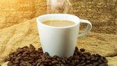 Coffee and coffee bean on Fabric handmade. — Stock Photo