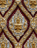 Wood carving in native Thai style. detail of temple window — Photo