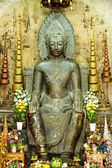 Asian religious art. Ancient green stone sculpture of Buddha at  — Stock Photo