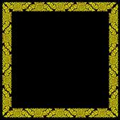 Moldura dourada isolar o fundo preto. — Fotografia Stock