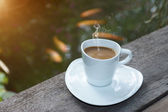 Morning coffee with white glass. — Stock Photo