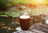Morning coffee with dark glass. — Stock Photo