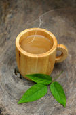 Morning coffee with wood cup. — Stock fotografie