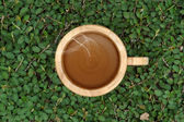 Morning coffee with wood cup. — Stock Photo