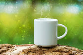Morning coffee with white cup on the wood. — Stock Photo