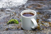 Refreshments and coffee on the rocks at the falls. — Stock Photo