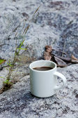 Refreshments and coffee on the rocks. — Stock Photo