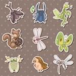 Summer animal stickers — Stock Vector #10379440