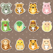 12 Chinese Zodiac animal stickers — Stock Vector #12435347