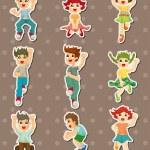 Cartoon child jump stickers — Stock Vector #12542653