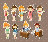 Cartoon pretty office woman worker stickers — Stock Vector