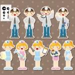 Cartoon doctor and nurse stickers — Stock Vector #12706410