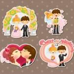 Cartoon bröllop uppsättning — Stockvektor