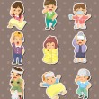 Sick Character stickers - Stock Vector