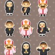 Stock Vector: Cartoon priest stickers