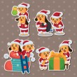 Cute cartoon Christmas Holiday,animal santa, stickers — Stock Vector