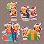 Cute cartoon Christmas Holiday,animal santa, stickers — Stock Vector #12752324