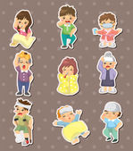 Sick Character stickers — Stock Vector