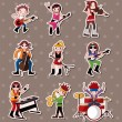Rock music band stickers — Stock Vector #12836465