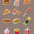 Stock Vector: Fast food stickers