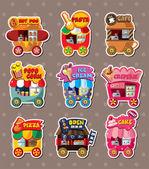 Cartoon market store stickers — Stock Vector