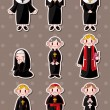 Cartoon priest stickers - Stock Vector