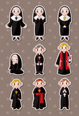 Cartoon priest stickers — Wektor stockowy