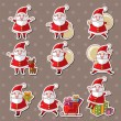 Cartoon santa claus Christmas stickers — 图库矢量图片