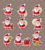 Cartoon santa claus Christmas stickers — Stock Vector