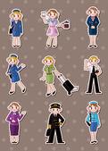 Cartoon flight attendant pilot stickers — Stock Vector